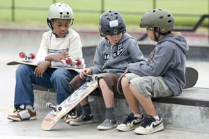 skaters wearing helmets