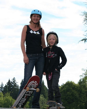 mom and daughter skateboarding